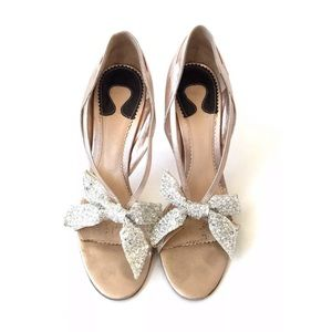 Chloe Metallic Bow Heels Size 9.5